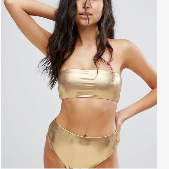 top style great discount for how to purchase NEW LOOK Gold Metallic Bikini Plus Size 14 NWT